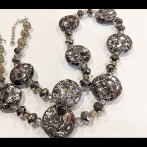 HANDCRAFTED Necklace Mosaic Crystal Grey Purple